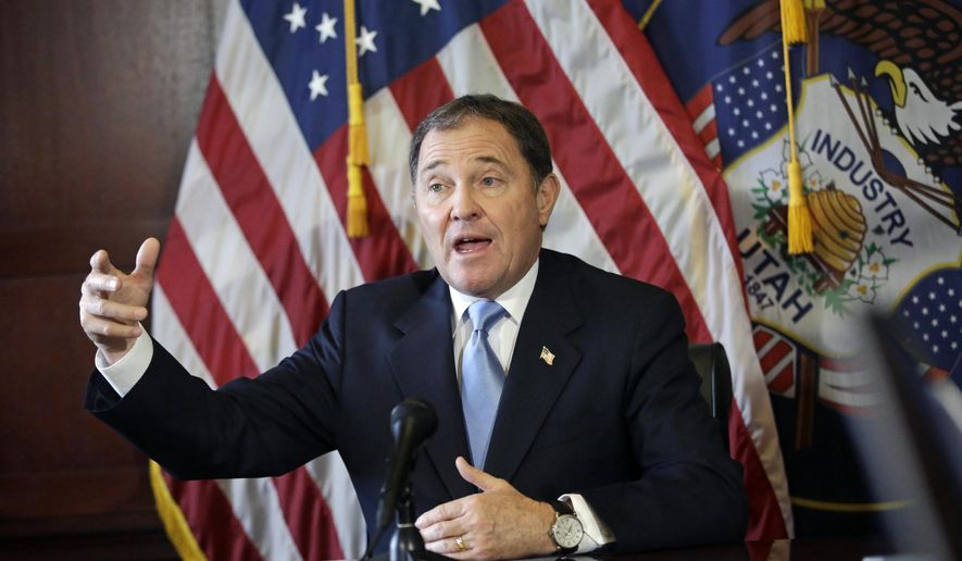 FILE - In this Thursday, Feb. 5, 2015 file photo, Utah Gov. Gary Herbert speaks during a news conference at the Utah State Capitol, in Salt Lake City. Planned Parenthood of Utah sued the governor on Monday, Sept. 28, for ordering state agencies to cut off federal funding to the organization following the release of secretly recorded videos by an anti-abortion group. (AP Photo/Rick Bowmer, File)