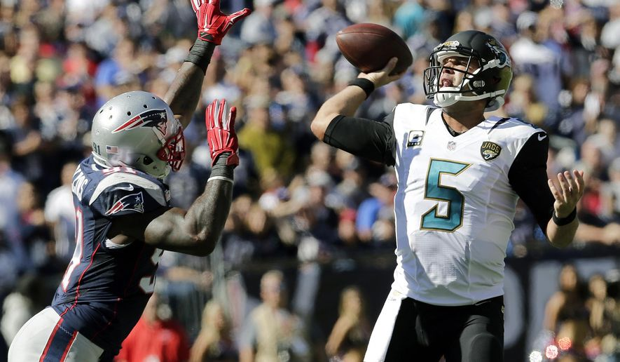 FILE - In this Sept. 27, 2015 file photo, Jacksonville Jaguars quarterback Blake Bortles (5) passes against the rush by New England Patriots linebacker Jamie Collins (91) in the first half of an NFL football game in Foxborough, Mass.  A 51-17 loss at New England exposed every flaw the Jaguars young team that's playing without several key components.  (AP Photo/Charles Krupa)