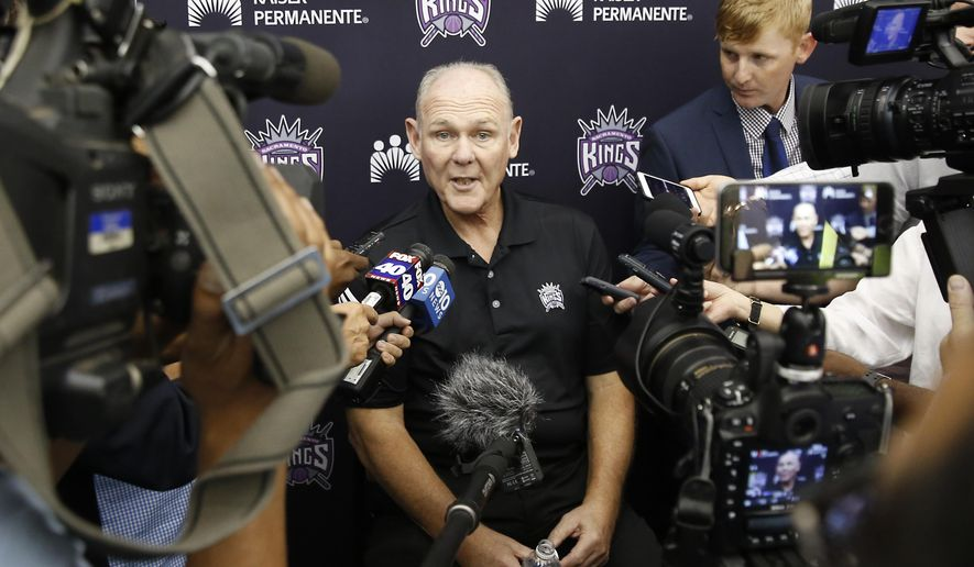 Sacramento Kings head coach George Karl speaks to reporters during an NBA basketball media day Monday, Sept. 28, 2015, in Sacramento, Calif. (AP Photo/Rich Pedroncelli)