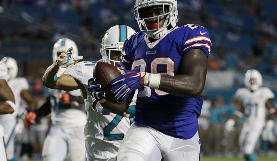 Buffalo Bills running back Karlos Williams (29) runs for a touchdown during the second half of an NFL football game against the Miami Dolphins Sunday, Sept. 27, 2015 in Miami Gardens, Fla. (AP Photo/Lynne Sladky)