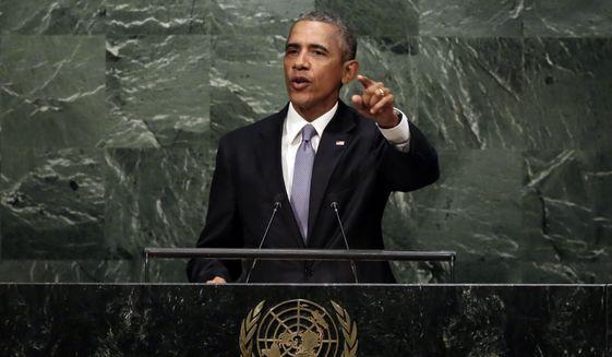 United States President Barack Obama addresses the 70th session of the United Nations General Assembly, Monday, Sept. 28, 2015. (AP Photo/Richard Drew)