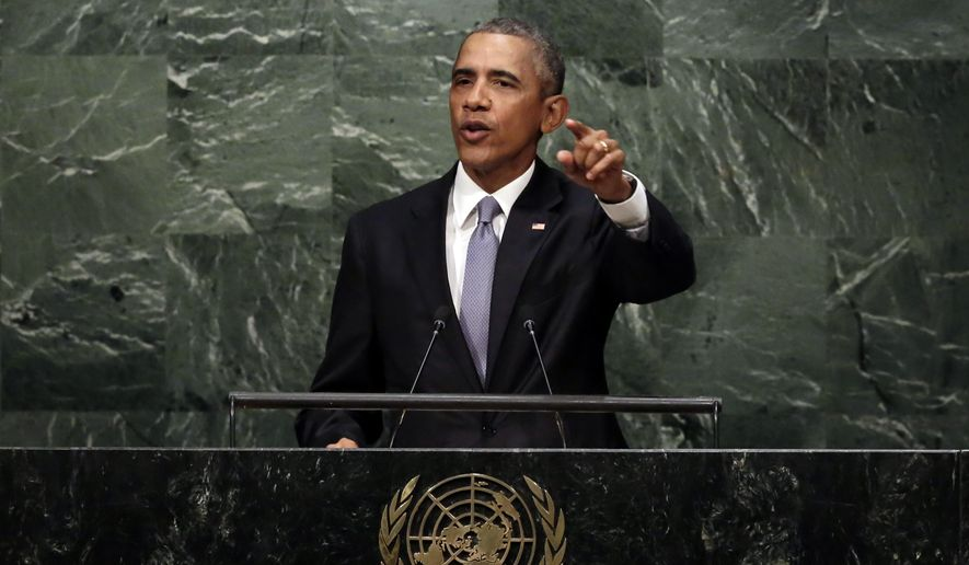 United States President Barack Obama addresses the 70th session of the United Nations General Assembly, Monday, Sept. 28, 2015. (AP Photo/Richard Drew)