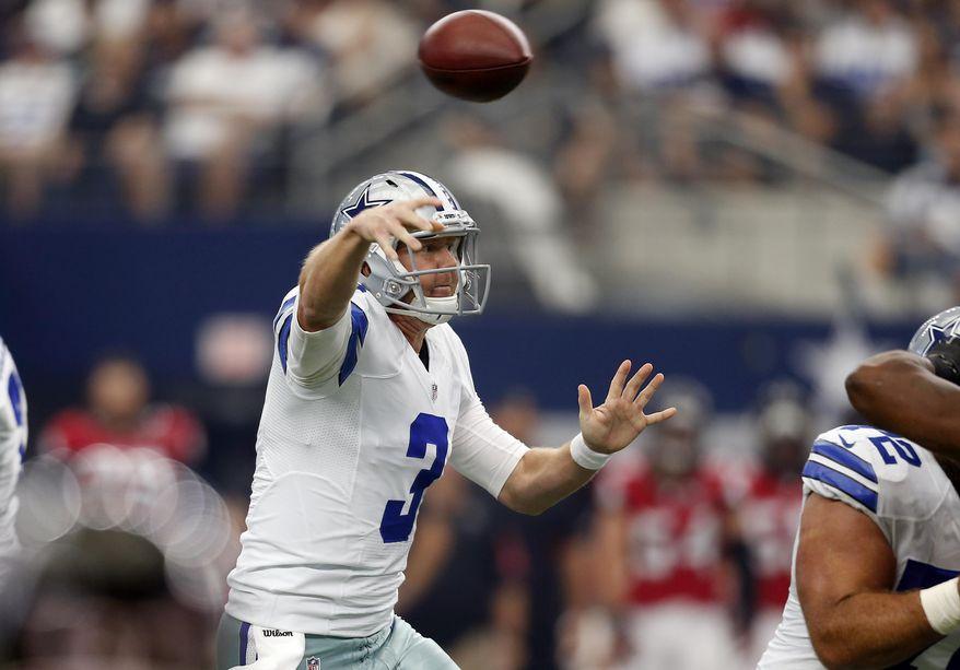 Dallas Cowboys quarterback Brandon Weeden (3) passes against the Atlanta Falcons in the first half of an NFL football game on Sunday, Sept. 27, 2015, in Arlington, Texas. (AP Photo/Brandon Wade)
