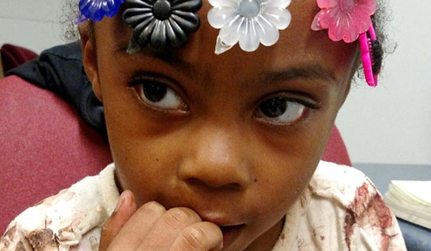 "A girl found in in Baltimore County, Md. on Sunday night, Sept, 27, 2015, is seen in an undated photo provided by the Baltimore County, Md., police. Authorities are asking for help identifying the girl.. Police say the young girl, about 3 years old, was found around 10:30 p.m. Sunday in the 3900 block of Hollins Ferry Road in Lansdowne, Md. Police say they believe the girl's name might be ""Jacia"" or her nickname might be ""Sissy.""  (Baltimore County, Md., police via AP)"