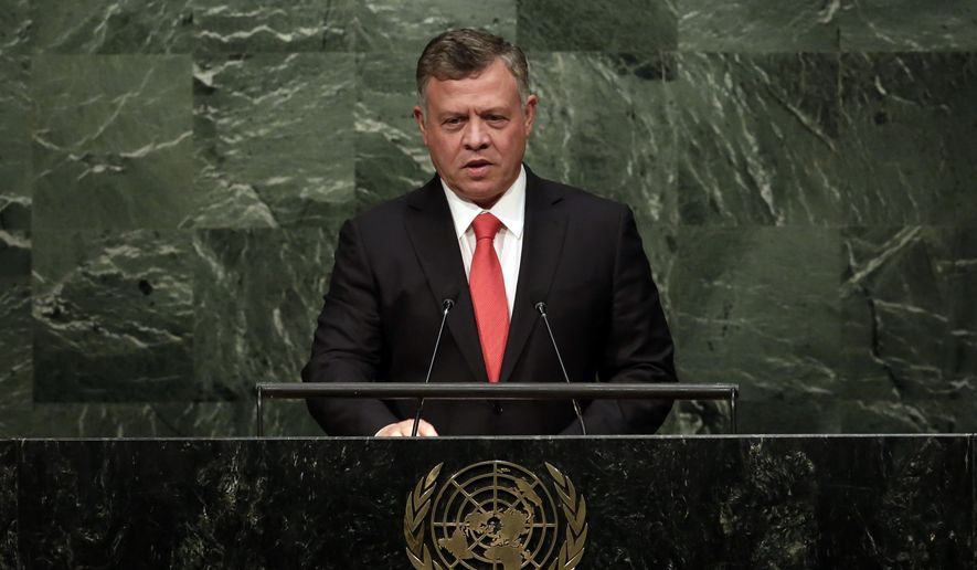 Jordan's King Abdullah II Ibn Al Hussein addresses the 70th session of the United Nations General Assembly, Monday, Sept. 28, 2015. (AP Photo/Richard Drew) ** FILE **