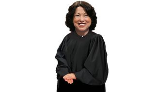 Illustration on Justice Sotomayor's unpaid intern servant staff by Alexander Hunter/The Washington Times