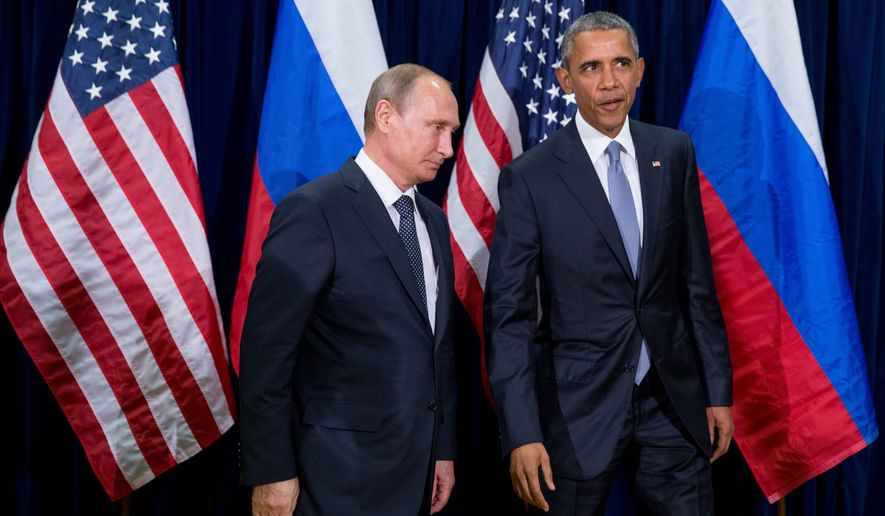 U.S. President Barack Obama, right, and Russia's President Vladimir Putin head into a bilateral meeting Monday, Sept. 28, 2015, at United Nations headquarters. (AP Photo/Andrew Harnik) ** FILE **