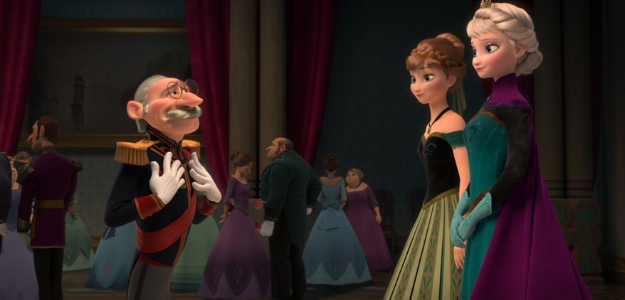 """This image released by Disney shows, from left, Duke Weselton, voiced by Alan Tudyk, Anna, voiced by Kristen Bell, and Elsa the Snow Queen, voiced by Idina Menzel, in a scene from the animated feature """"Frozen."""" (AP Photo/Disney)"""