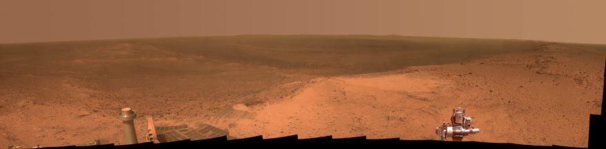 This panorama provided by NASA of a Martian hilltop was taken Jan. 6, 2015, by the NASA rover Opportunity. (NASA via Associated Press)