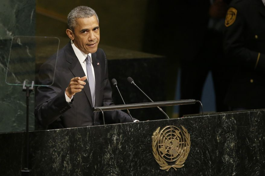 United States President Barack Obama addresses the 70th session of the United Nations General Assembly at U.N. headquarters, Monday, Sept. 28, 2015. (AP Photo/Mary Altaffer)
