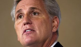 House Majority Leader Kevin McCarthy of Calif. speaks about foreign policy during the John Hay Initiative, Monday, Sept. 28, 2015, at a hotel in Washington. (AP Photo/Jacquelyn Martin)