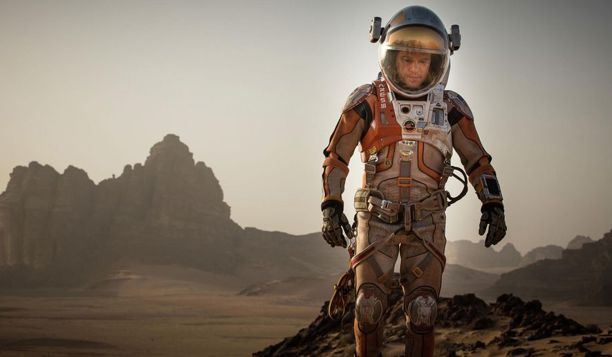 "This photo released by 20th Century Fox shows Matt Damon in a scene from the film ""The Martian."" (Aidan Monaghan/20th Century Fox via AP)"