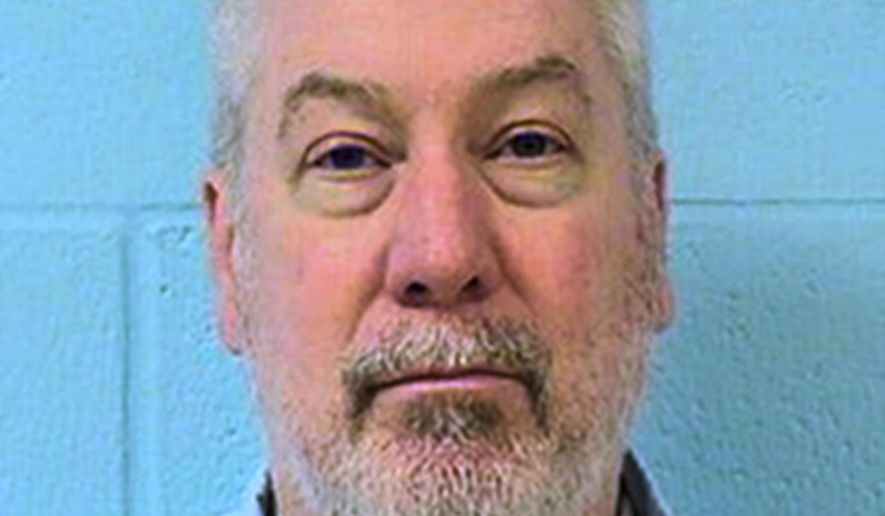 FILE - This undated file photo provided by the Illinois Department of Corrections shows former Bolingbrook, Ill., police officer Drew Peterson. Peterson's murder-for-hire trial in southern Illinois was postponed by a Randolph County judge Tuesday, Sept. 29, 2015, until early next year. Peterson is charged with soliciting an inmate to kill Will County State's Attorney James Glasgow, who prosecuted the 2012 case in which Peterson was sentenced to 38 years in prison for the bathtub drowning death of ex-wife Kathleen Savio.  (Illinois Department of Corrections via AP, File)