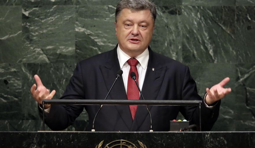 Ukraine's President Petro Poroshenko addresses the 70th session of the United Nations General Assembly, at U.N. Headquarters, Tuesday, Sept. 29, 2015. (AP Photo/Richard Drew)