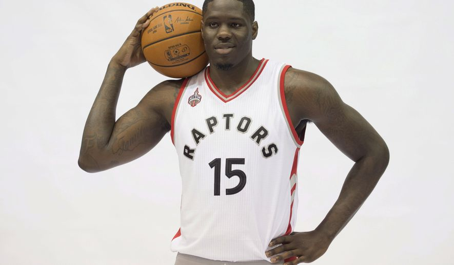 Toronto Raptors' Anthony Bennett poses during the team's NBA basketball media day Monday, Sept. 28, 2015, in Toronto.  (Darren Calabrese/The Canadian Press via AP) MANDATORY CREDIT