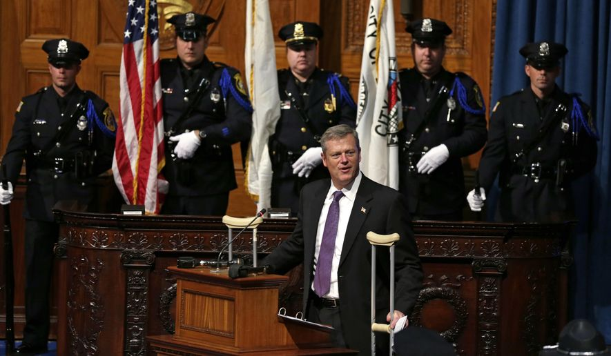 Mass. Gov. Charlie Baker speaks during the George L. Hanna Awards at the Statehouse in Boston, Tuesday, Sept. 29, 2015. Twelve police officers were honored at the annual ceremony, which is named after the slain Massachusetts state trooper who died in the line of duty in 1983. (AP Photo/Charles Krupa)