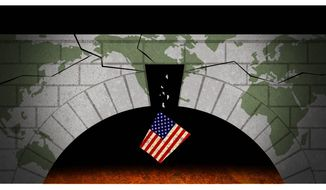 Illustration on the dangerous void left by America's leadership vacuum in world affairs by Alexander Hunter/The Washington Times