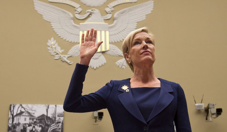 "Planned Parenthood Federation of America President Cecile Richards is sworn in on Capitol Hill in Washington on Sept. 29, 2015, prior to testifying before the House Oversight and Government Reform Committee hearing on ""Planned Parenthood's Taxpayer Funding."" (Associated Press)"