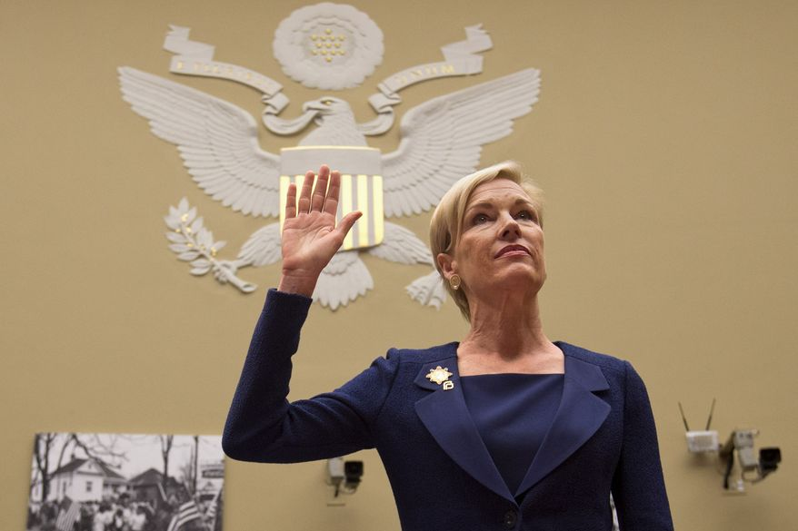 """Planned Parenthood Federation of America President Cecile Richards is sworn in on Capitol Hill in Washington on Sept. 29, 2015, prior to testifying before the House Oversight and Government Reform Committee hearing on """"Planned Parenthood's Taxpayer Funding."""" (Associated Press)"""