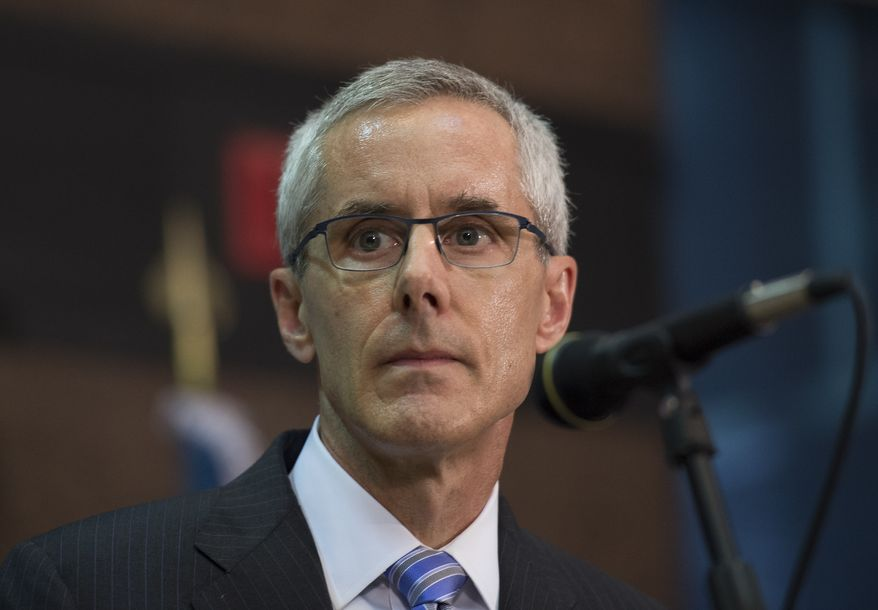TSA Administrator Peter Neffenger speaks at a news conference on security for the U.S. rail system at Union Station in Washington on Sept. 3, 2015. (Associated Press) **FILE**