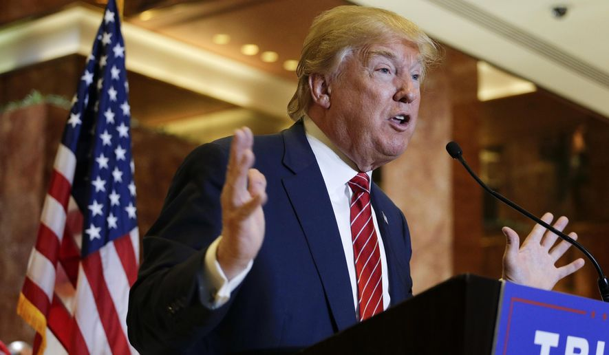 Republican presidential candidate Donald Trump talks about his tax plan during a news conference, Monday, Sept. 28, 2015, in New York. The Republican front-runner is calling for an overhaul of the tax code that would eliminate income taxes for millions of Americans, while lowering them for the highest-income earners and business. (AP Photo/Julie Jacobson) ** FILE **