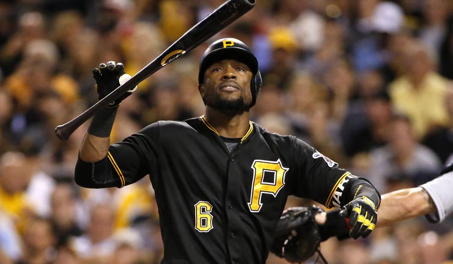 Pittsburgh Pirates' Starling Marte reacts to striking out against St. Louis Cardinals starting pitcher Lance Lynn in the third inning of a baseball game in Pittsburgh, Monday, Sept. 28, 2015. The Cardinals won 3-0. (AP Photo/Gene J. Puskar)