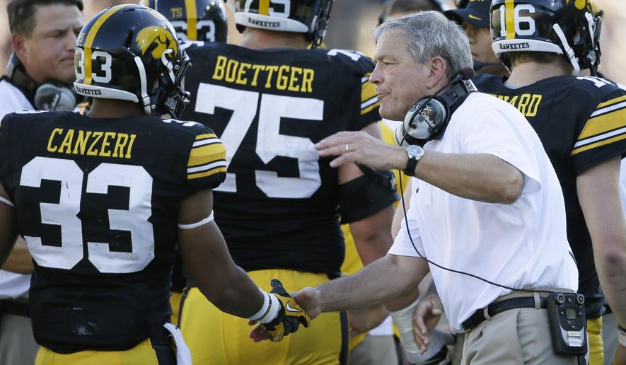 Iowa running back Jordan Canzeri (33) is greeted on the sideline by head coach Kirk Ferentz, right, after scoring on a 3-yard touchdown run during the first half of an NCAA college football game against North Texas, Saturday, Sept. 26, 2015, in Iowa City, Iowa. Iowa won 62-16. (AP Photo/Charlie Neibergall)