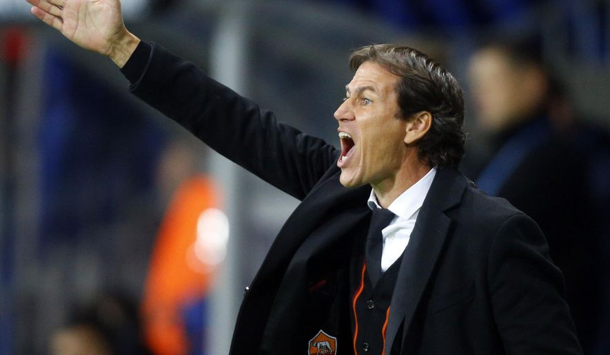 Roma coach Rudi Garcia shouts during the the Champions League group E soccer match between Bate Borisov and Roma, in Borisov, Belarus, Tuesday, Sept. 29, 2015. (AP Photo/Sergei Grits)