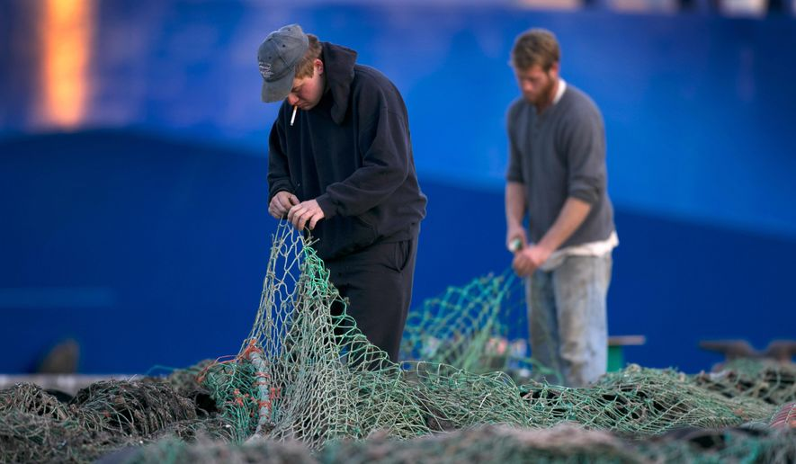 FILE - In this Nov. 15, 2013 file photo, fishermen Ed Stewart, left, and Tannis Goodsen mend groundfishing nets on Merrill Wharf in Portland, Maine. One of the two critical areas where New England fishermen search for cod may be in even worse shape than suspected. The Northeast Fisheries Science Center says research boats caught less cod this past spring in 2015 than in all but one spring season dating back to 1968. (AP Photo/Robert F. Bukaty, File)