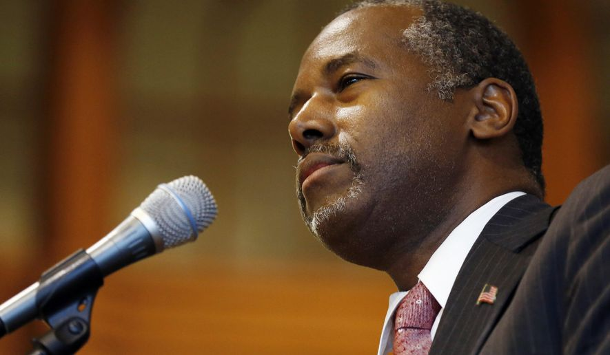 Republican presidential candidate, retired neurosurgeon Ben Carson speaks during a campaign stop at the University of New Hampshire, Wednesday, Sept. 30, 2015, in Durham, N.H. (AP Photo/Jim Cole)