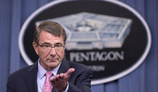 Defense Secretary Ash Carter speaks to reporters during a news conference at the Pentagon, Wednesday, Sept. 30, 2015. Carter said that Russian airstrikes may have been in areas with no Islamic State forces.  (AP Photo/Manuel Balce Ceneta)