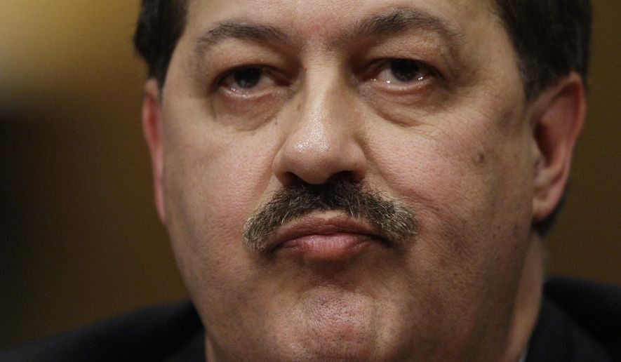 FILE - In this May 20, 2010, file photo, former Massey Energy Company Chief Executive Officer Don Blankenship pauses as he testifies on Capitol Hill in Washington before the Senate Health and Human Services subcommittee hearing on mine safety. Blankenship, who goes on trial Thursday, Oct. 1, 2015, in Charleston, West Virginia, faces up to three decades in prison if convicted over how he ran the Upper Big Branch Mine, which exploded in 2010, killing 29 miners.  (AP Photo/Carolyn Kaster, File)