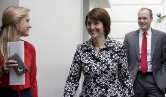 Rep. Cathy McMorris Rodgers, R-Wash., arrives for the House Republican Conference on Capitol Hill in Washington, Tuesday, Sept. 29, 2015. (AP Photo/Carolyn Kaster) ** FILE **