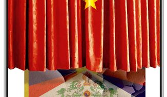 Illustration on China's coverup of it's abuses in Tibet by Alexander Hunter/The Washington Times