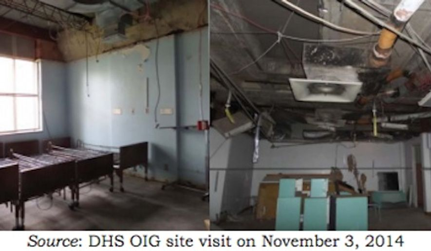 "Images included in the DHS' Inspector General's report show damage from Hurricane Ike in 2008 at Riverside Hospital that had not been repaired as of 2014 (Image: screen grab DHS OIG report ""FEMA Should Recover $32.4 Million in Grant Funds Awarded to Riverside General Hospital, Houston, Texas"")"