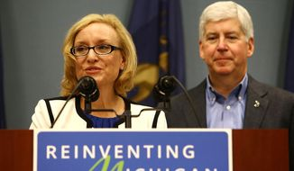 Joan Larsen speaks to the media after she was appointed to the Michigan Supreme Court by Gov. Rick Snyder during an news conference at George Romney Building in downtown Lansing, Mich., Wednesday, Sept. 30, 2015. (Danielle Duval /Jackson Citizen Patriot via AP) ** FILE **