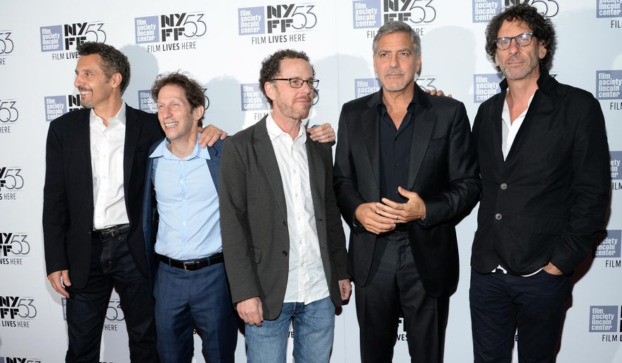 "Actor John Turturro, left, actor Tim Blake Nelson, director Ethan Coen, actor George Clooney and director Joel Coen attend a special 15th anniversary screening of, ""O Brother, Where Art Thou?"", during the New York Film Festival at Alice Tully Hall on Tuesday, Sept. 29, 2015, in New York. (Photo by Evan Agostini/Invision/AP)"