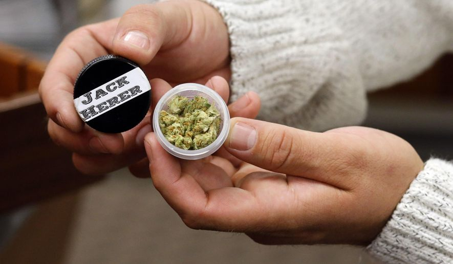 A sample of cannabis is shown in a sniffer at Shango Premium Cannabis, in Portland , Ore., Thursday, Oct. 1, 2015. Oregon marijuana stores have begun sales to recreational users, marking a big day for the budding pot industry in the state. Some of the more than 250 dispensaries in Oregon that already offer medical marijuana opened their doors early Thursday to begin selling the drug just moments after it became legal to do so. (AP Photo/Timothy J. Gonzalez)