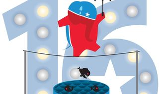 Illustration on the changing and perilous situation of presidential candidates by Linas Garsys/The Washington Times