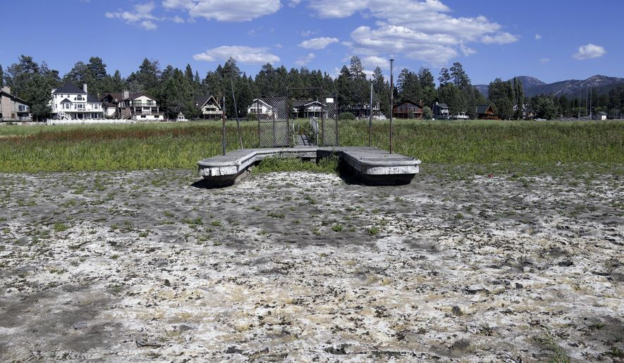FILE - This Aug. 24, 2015, file photo, shows a boat dock by the lake bed where water has dried due to the drought at Big Bear Lake, Calif. A state water official said Californians have met a mandate to save water for a third consecutive month during the grinding drought. The State Water Resources Control Board on Thursday, Oct. 1 will release statewide conservation figures for August. (AP Photo/Nick Ut, File)