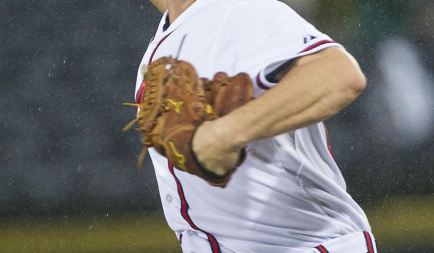 Atlanta Braves' Ryan Weber pitches against the Washington Nationals during the first inning of a baseball game, Thursday, Oct. 1, 2015, in Atlanta. (AP Photo/John Amis)