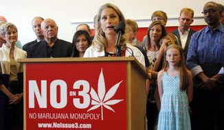 In this file photo taken Aug. 17, 2015, in Columbus, Ohio, at Nationwide Children's Hospital's Research Institute Building, Sarah Denny, the hospital's attending pediatric physician, speaks during a news conference held by a coalition opposing a constitutional amendment to legalize marijuana for medical reasons and recreational use. The proposed amendment, known as Issue 3, lays out a regulatory and taxation scheme for cannabis and creates a network of 10 authorized growing facilities. (Tom Dodge/The Columbus Dispatch via AP, File)