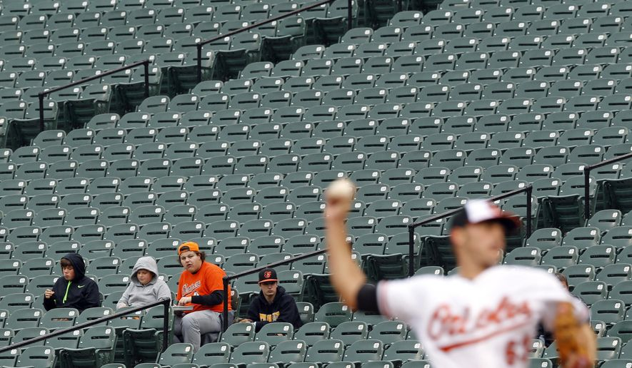 Fans watch as Baltimore Orioles starting pitcher Tyler Wilson throws to the Toronto Blue Jays in the first inning of a baseball game, Thursday, Oct. 1, 2015, in Baltimore. (AP Photo/Patrick Semansky)