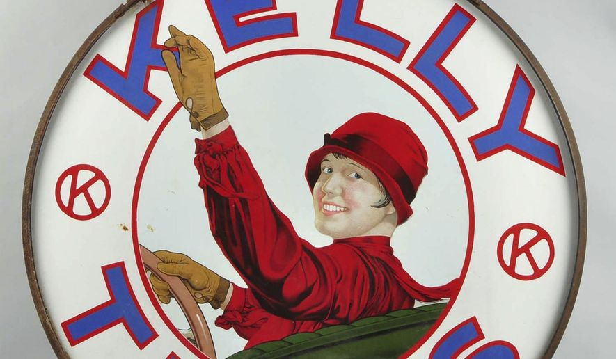 In this undated photo provided by Morphy Auctions, a porcelain sign advertising Kelly Tires, valued at $50,000 to $80,000, is shown. The sign will be among hundreds of gasoline advertising signs, gas-station pumps, gas globes and other pieces of petroliana and automobilia to be sold at auction during October 2015 at the auction house in Denver, Pa. (Morphy Auctions via AP)