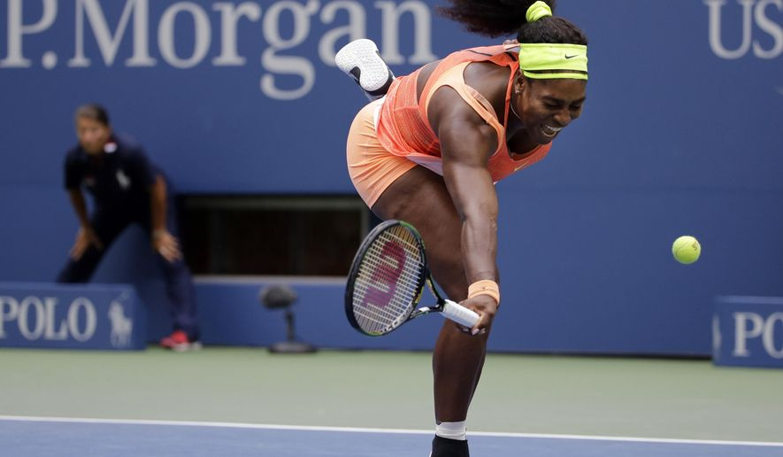 """FILE - In this Friday, Sept. 11, 2015 file photo, Serena Williams can't catch up with a drop shot from Roberta Vinci, of Italy, during a semifinal match at the U.S. Open tennis tournament, in New York. Williams announced on Thursday, Oct. 1, 2015  that she is withdrawing from the season-ending WTA Finals and the China Open to take time to heal after playing through injuries all year. Williams, who was two wins from completing a calendar-year Grand Slam at the U.S. Open, says she is """"taking a proactive step and withdrawing from tournaments in Beijing and Singapore to properly address my health and take the time to heal.""""(AP Photo/David Goldman, File)"""