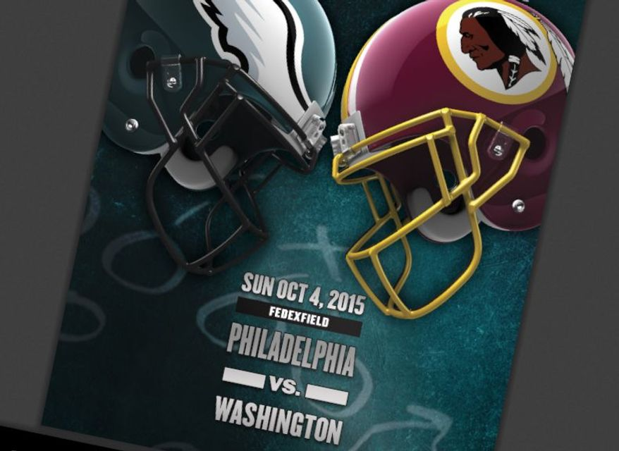 The cover of the Philadelphia Eagles' game notes for the Oct. 4 game against the Washington Redskins omitted the Redskins' nickname, instead preferring to use the city the team represents throughout.