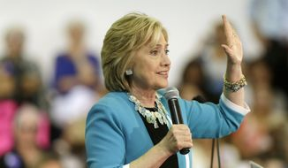 Democratic presidential candidate Hillary Rodham Clinton speaks during a campaign event at Broward College, Friday, Oct. 2, 2015, in Davie, Fla. (AP Photo/Lynne Sladky) ** FILE **