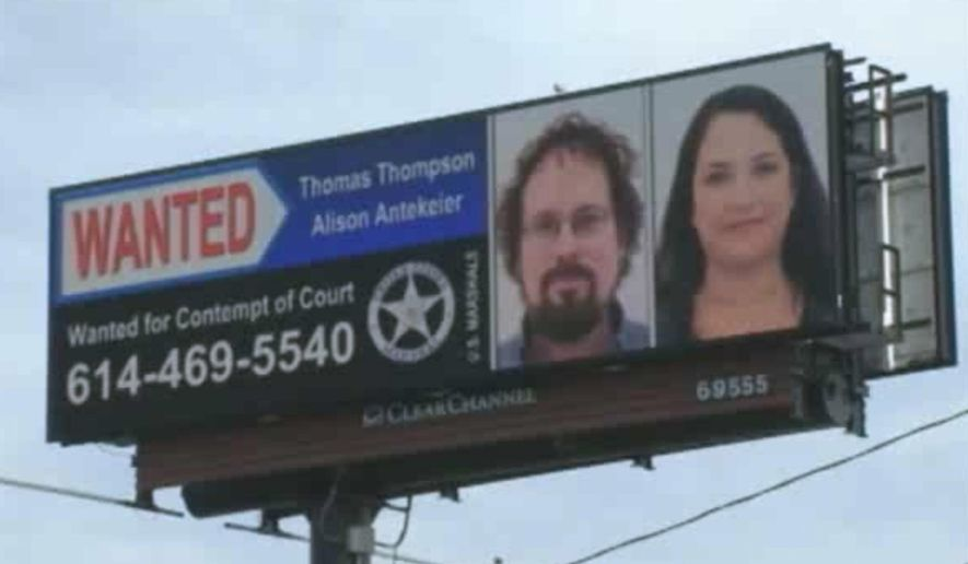 FILE - This file image from undated video provided by WSYX-TV shows the wanted billboard for ex-fugitive deep-sea treasure hunter Tommy Thompson, left, and his longtime female companion Alison Antekeier, right. Antekeier faces up to three years on probation, but no prison time, when U.S. District Judge Algenon Marbley sentences her Friday, Oct. 2, 2015, following her guilty plea to one count of contempt of court earlier this year. She was apprehended in January at a hotel where she and Thompson were living near Boca Raton, Fla.,, and Thompson's sentencing is scheduled Oct. 29, 2015. (WSYX-TV via AP, File)