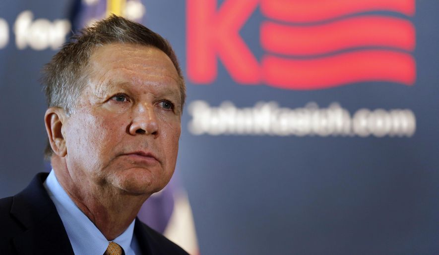 Republican presidential candidate, Ohio Gov. John Kasich, listens as he gets the endorsement of former New Hampshire Sen. Gordon Humphrey, Friday, Oct. 2, 2015, in Concord, N.H. (AP Photo/Jim Cole) ** FILE **