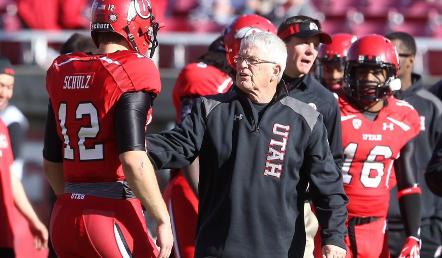 FILE - This Nov. 30, 2013, file photo shows Utah's Dennis Erickson during practice before the start of their NCAA college football game against Colorado, in Salt Lake City. Winning a national championship puts a coach in an exclusive group. Winning multiple titles moves a coach into an entirely different realm. Ten coaches have won multiple AP national championships since 1970. Nine of those never worked on a staff as anything less than a head coach afterward, according to STATS. The 10th is Erickson who is quietly toiling in relative obscurity as the running backs coach for the 10th-ranked Utah Utes. (AP Photo/Rick Bowmer, File)